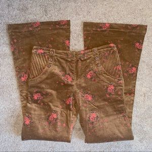 Lucca Couture Brown Floral Corduroy Bell Bottoms